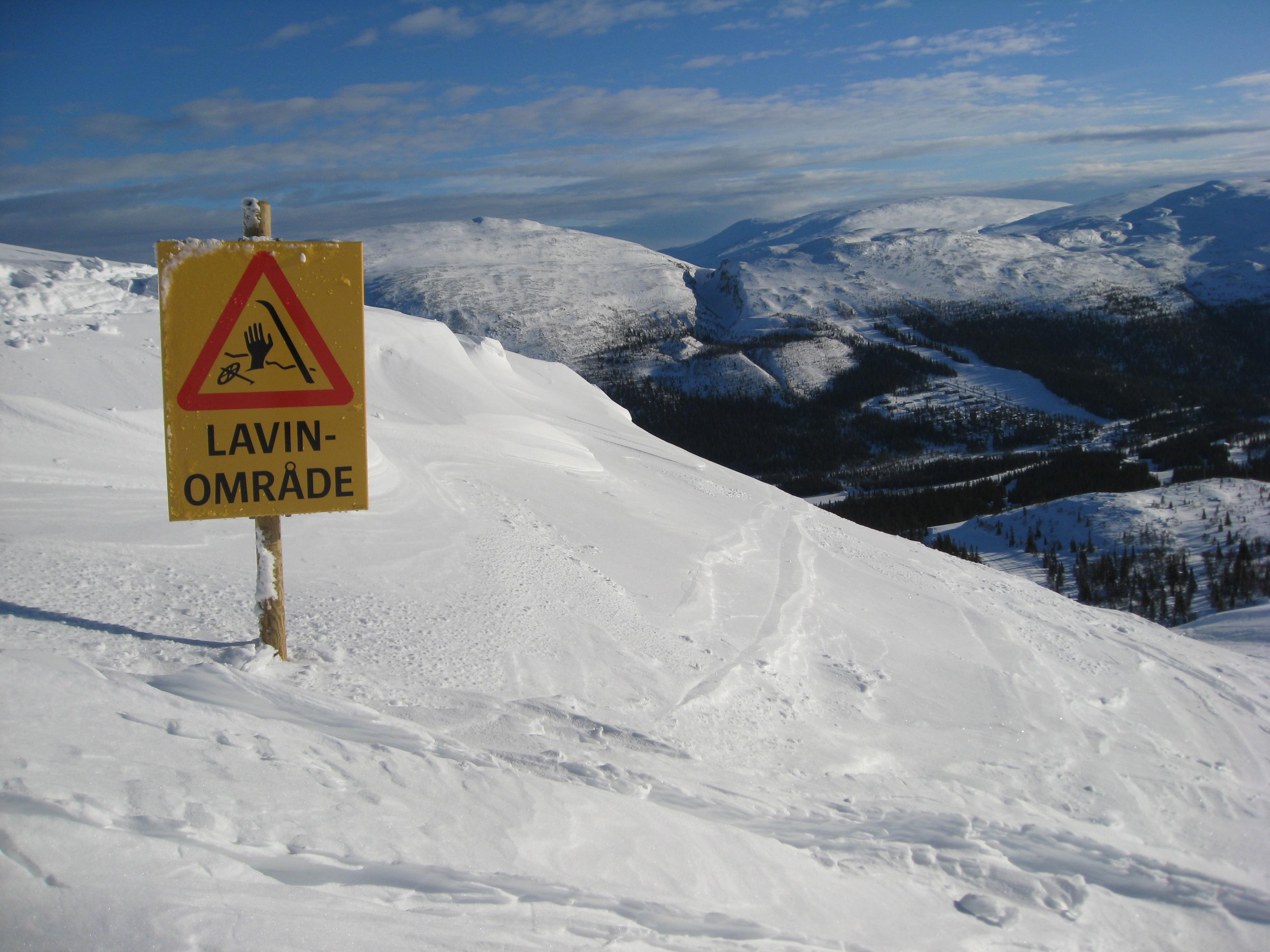 Lavinfara varningsskylt Bydalen